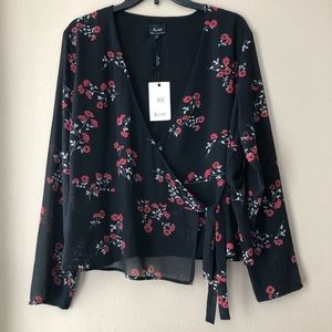 Bardot wrap around top with floral print